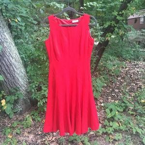 Calvin Klein Sleeveless Red Dress Princess Cut